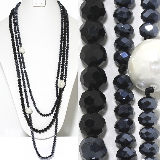 Necklace Lariat 3-Line Crystal And Lg Smooth Beads Gray Bl ZN143