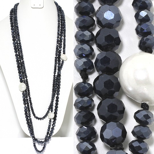 Necklace Lariat 3-Line Crystal And Lg Smooth Beads Graphit ZN145