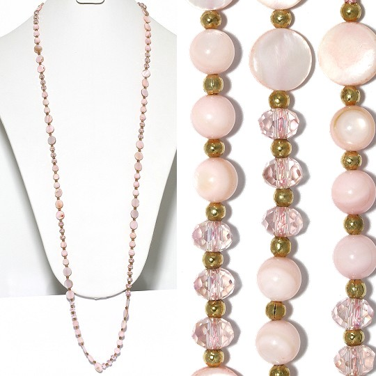 "Lariat Necklace +- 38"" Mix Beads Crystals Gold Peach Pink ZN147"