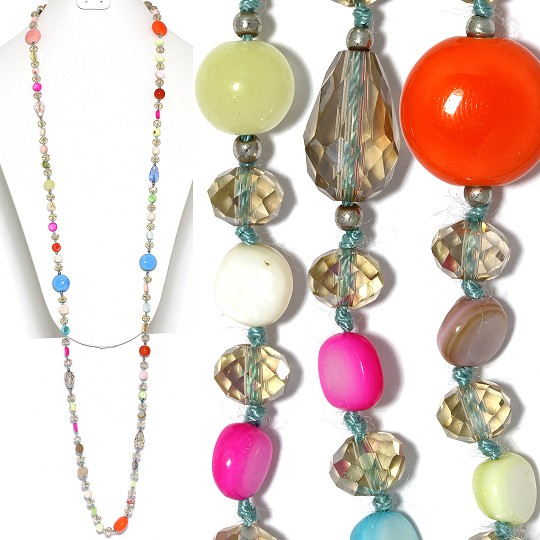 "Lariat Party Necklace +- 46"" Mix Beads Multi Color AB ZN151"
