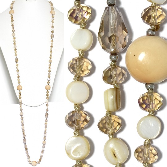 "Lariat Party Necklace +- 46"" Mix Beads Tan Ivory White Bro ZN152"