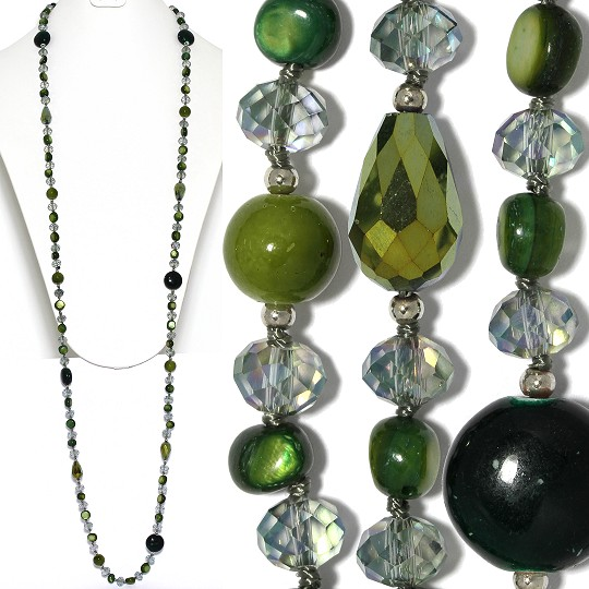 "Lariat Party Necklace +- 46"" Mix Beads Dark Green ZN153"