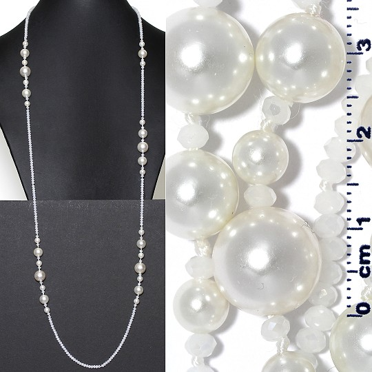 "Lariat Necklace +- 40"" Crystal & Smooth Beads Frost White ZN160"