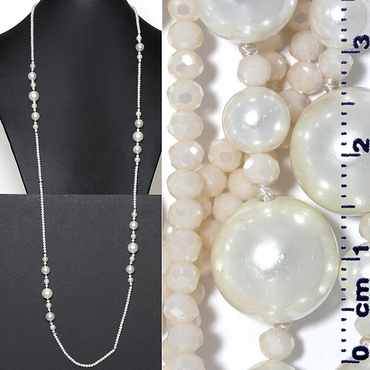 "Lariat Necklace +- 40"" Crystal & Smooth Beads Frost Peach ZN161"