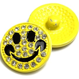 1pc 18mm Happy Face Snap On Rhinestones Yellow ZR011