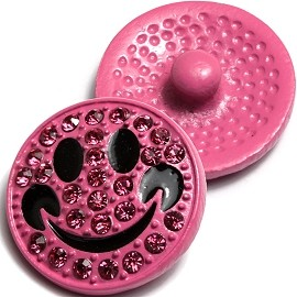 1pc 18mm Happy Face Snap On Rhinestones Pink ZR012