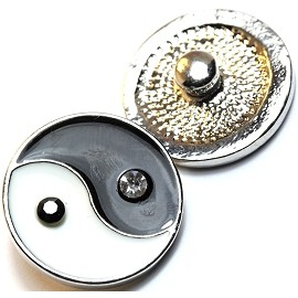1pc 18mm Snap On Charm Yin Yang Rhinestones Black White ZR020