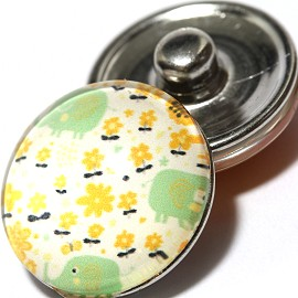 1pc 18mm Snap On Charm Elephant Cartoon Lime White Yellow ZR1040