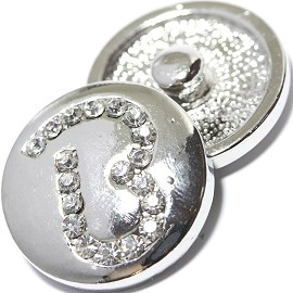 1pc 18mm Snap On Charm Rhinestone Silver Letter - B - ZR1065