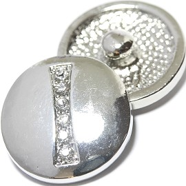 1pc 18mm Snap On Charm Rhinestone Silver Letter - I - ZR1072