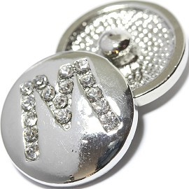 1pc 18mm Snap On Charm Rhinestone Silver Letter - M - ZR1076