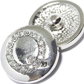 1pc 18mm Snap On Charm Rhinestone Silver Letter - Q - ZR1080