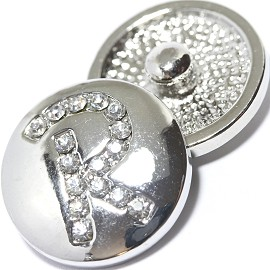 1pc 18mm Snap On Charm Rhinestone Silver Letter - R - ZR1081