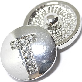 1pc 18mm Snap On Charm Rhinestone Silver Letter - T - ZR1083