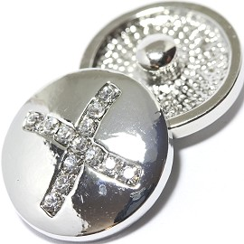 1pc 18mm Snap On Charm Rhinestone Silver Letter - X - ZR1087