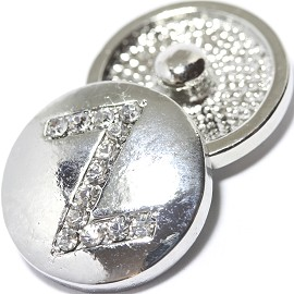 1pc 18mm Snap On Charm Rhinestone Silver Letter - Z - ZR1089