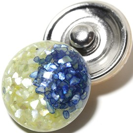 1pc 18mm Marble Snap On Charm Blue Yellow ZR1094