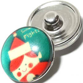1pc 18mm Snap On Charm Cartoon Christmas Girl Green ZR1104