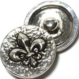 1pc 18mm Fleur De Lis Flower Snap On Silver Gray ZR1109