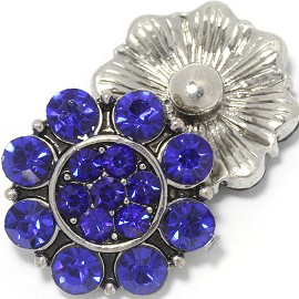 1pc 18mm Rhinestone Flower Snap On Blue ZR1113