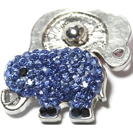 1pc 18mm Snap On Charm Elephant Rhinestone Light Blue ZR1155