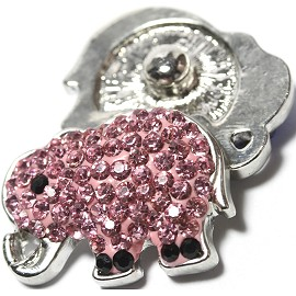 1pc 18mm Snap On Charm Elephant Rhinestone Pink ZR1156