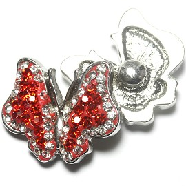 1pc 18mm Snap On Charm Rhinestone Butterfly Red ZR1164