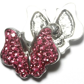 1pc 18mm Snap On Charm Rhinestone Hot pink Butterfly ZR1169