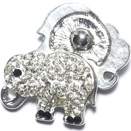1pc 18mm Snap On Charm Rhinestone Elephant clear ZR1185