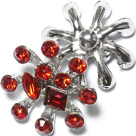 1pc 18mm Snap On Charm Rhinestone Red ZR1196