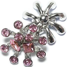 1pc 18mm Snap On Charm Rhinestone Pink ZR1200