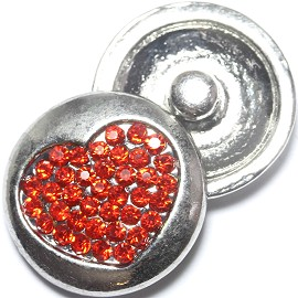 1pc 18mm Snap On Charm Rhinestone Heart Red ZR1214