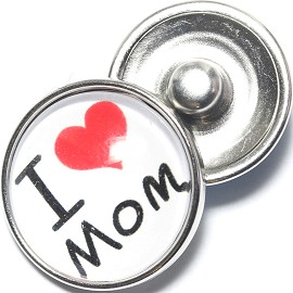1pc 18mm Snap On Charm I Heart Mom Red White ZR1245