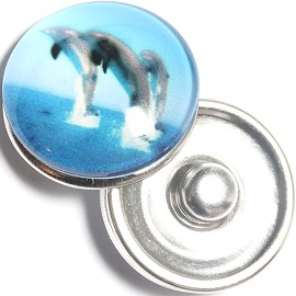 1pc 18mm Snap On Charm Dolphin Sky Blue Gray ZR1247