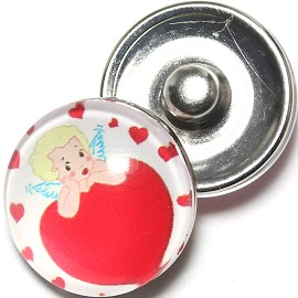 1pc 18mm Snap On Charm Heart Baby Angel Red ZR1263