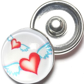 1pc 18mm Snap On Charm Heart Wings Red ZR1264