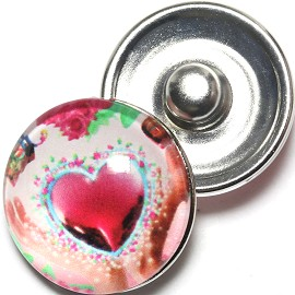 1pc 18mm Snap On Charm Heart Red Pink ZR1265