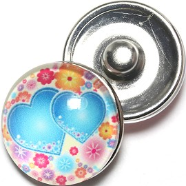 1pc 18mm Snap On Charm Heart Flower Turquoise ZR1267