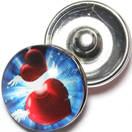 1pc 18mm Snap On Charm Heart Blue Red ZR1270