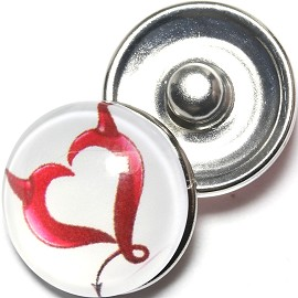1pc 18mm Snap On Charm Heart Tails Horn White Red ZR1292