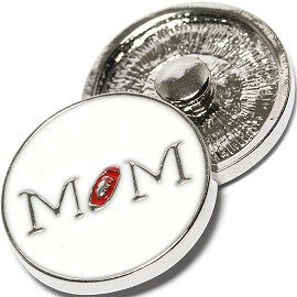 1pc 18mm Snap On Charm MoM White Red ZR1305