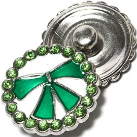 1pc 18mm Snap On Charm Rhinestone Green ZR1345