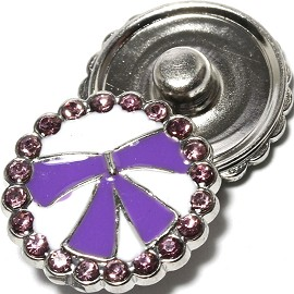 1pc 18mm Snap On Charm Rhinestone Purple ZR1346