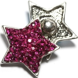 1pc 18mm Snap on Rhinestone Hot Pink Star ZR1381