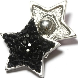 1pc 18mm Snap On Charm Rhinestone Black Star ZR1384