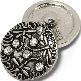 1pc 18mm Snap On Charm Rhinestone Dragonfly Silver ZR1421