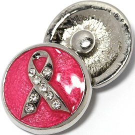 1pc 18mm Snap On Charm Rhinestone Pink Ribbon ZR1425