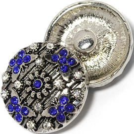 1pc 18mm Snap On Charm Royal Blue Rhinestone Butterfly ZR1440