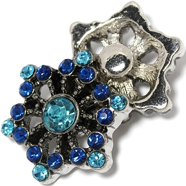 1pc 18mm Snap On Charm Blue Rhinestone ZR1443