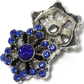 1pc 18mm Snap On Charm Royal Blue Rhinestone ZR1444